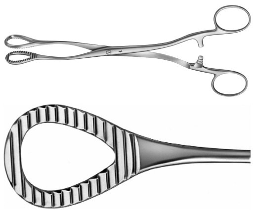 AE-AN710R, HEYWOOD-SMITH, SPONGE HOLDING, ORGAN AND TISSUE GRASPING FORCEPS, HEMORRHOIDAL FORCEPS, 200 mm, 8""