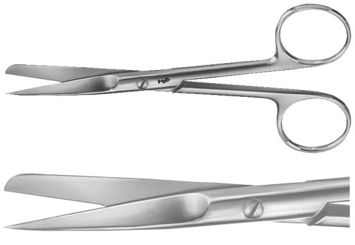 AE-BC303R, SURGICAL SCISSORS STRAIGHT, SHARP / BLUNT, SLENDER PATTERN, 130 mm, 5 1/8""