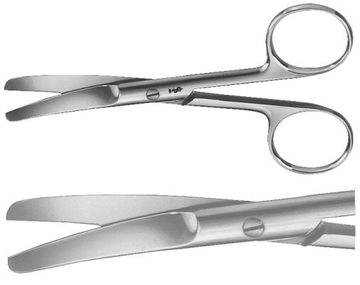 AE-BC416R, COOPER, SURGICAL SCISSORS 	CURVED, BLUNT / BLUNT 	165 mm, 6 1/2""
