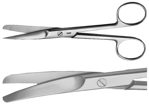 AE-BC464R, DEAVER, SURGICAL SCISSORS 	CURVED, BLUNT / BLUNT, WITH FLAT LOCK 	145 mm, 5 3/4""