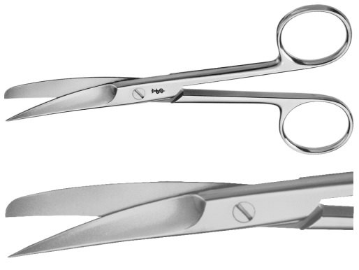 AE-BC474R, DEAVER, SURGICAL SCISSORS 	CURVED, SHARP / BLUNT, WITH FLAT LOCK 	145 mm, 5 3/4""