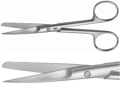 AE-BC496R, SCISSORS FOR WOUND EDGES 	STRAIGHT, SHARP / BLUNT, ONE BLADE SERRATED 	130 mm, 5 1/8""