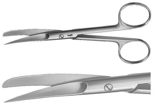 AE-BC497R, SCISSORS FOR WOUND EDGES 	STRAIGHT, SHARP / BLUNT, 1 BLADE SERRATED 	130 mm, 5 1/2""