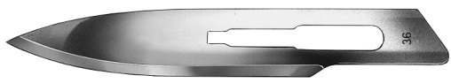 AE-BB536, SCALPEL BLADES 	FIG. 36, CARBON STEEL, PAK = PACKAGE OF 100 PIECES IN DISPENSER PACKAGE