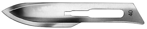 AE-BB540, SCALPEL BLADES, DOUBLE CUTTTING 	FIG. 40, CARBON STEEL, PAK = PACKAGE OF 100 PIECES IN DISPENSER PACKAGE