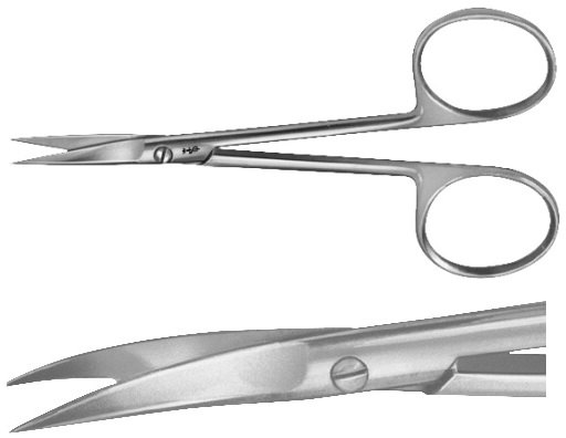 AE-BC057R, DELICATE SCISSORS CURVED 90 mm, 3 3/4""