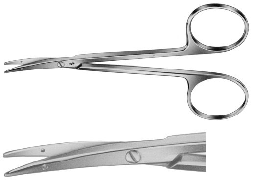 AE-BC163R, LITTLER 	DISSECTING SCISSORS 	CURVED, BLUNT / BLUNT, TIPS WITH EYE FOR SUTURE 	115 mm, 4 1/2""