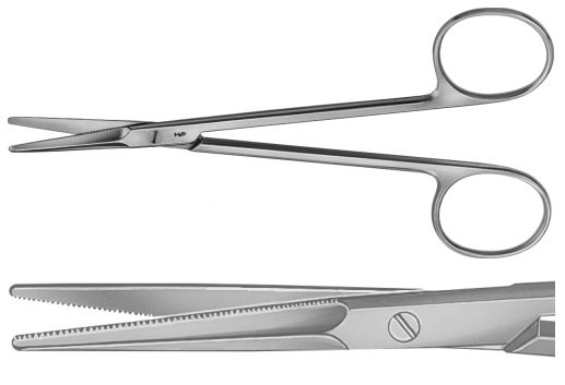 AE-BC188R, GORNEY 	DISSECTING SCISSORS 	FOR PLASTIC SURGERY, OUTSIDE SEMI-SHARP, INSIDE FINE SERRATED 	195 mm, 7 3/4""