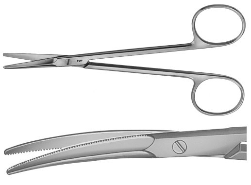 AE-BC189R, GORNEY 	DISSECTING SCISSORS 	FOR PLASTIC SURGERY, CURVED, OUTSIDE SEMI-SHARP, INSIDE FINE SERRATED 	195 mm, 7 3/4""