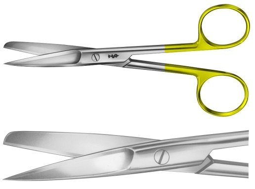 AE-BC234R, DUROTIP SCISSORS 	CURVED ON FLAT, SHARP / BLUNT 	145 mm, 5 3/4""