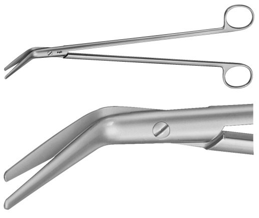 AE-BC624R, DISSECTING SCISSORS 	FOR CUTTING OF THE BOWEL, 60° ANGLED 	280 mm, 11""