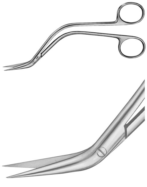 AE-BC669R, DE BAKEY 	OFFSET-SCISSORS 	S-SHAPED 	155 mm, 6""