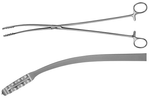 AE-BF065R, ULRICH-AESCULAP 	WASHING FORCEPS 	CURVED 	350 mm, 14""