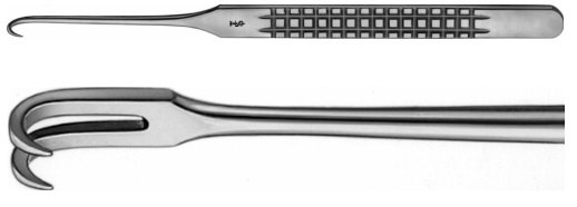 AE-BT174R, RETRACTOR 2 SHARP PRONGS 160 mm, 6 1/4""