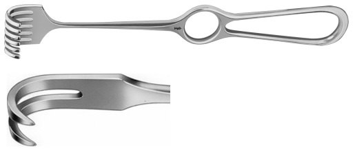 AE-BT262R, KOCHER RETRACTOR 2-PRONGS, SEMI SHARP, 16X9MM 220 mm, 8 3/4""