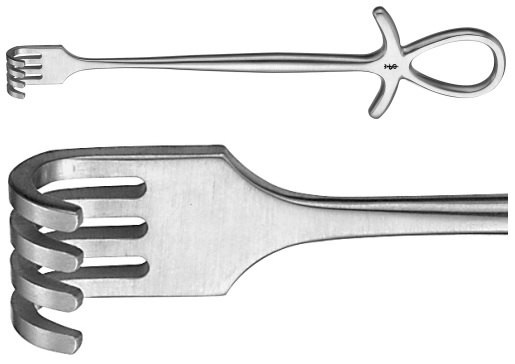 AE-BT296R, MURPHY RETRACTOR BLUNT, 4 PRONGS 195 mm, 7 3/4""
