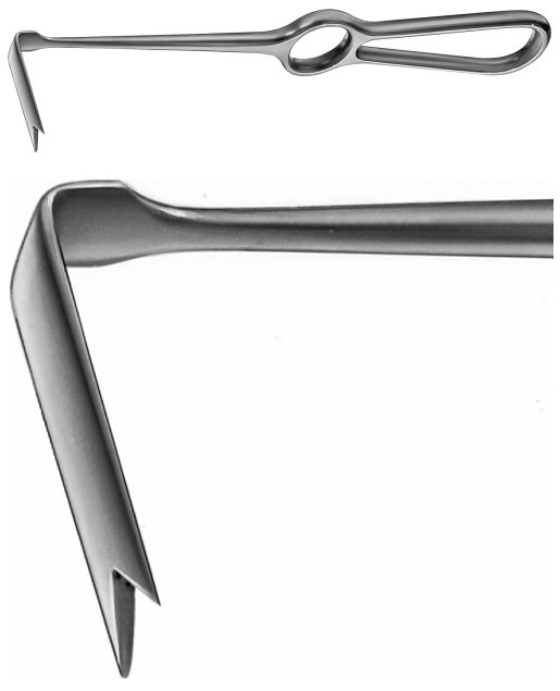 AE-DO407R, OBWEGESER DIAGONAL CHEECK RETRACTOR SPINA-NASALIS-RETRACTOR 215 mm, 8 1/2""