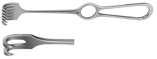 AE-BT242R, VOLKMANN RETRACTOR 2-PRONGS, SHARP, 9X8MM 220 mm, 8 3/4""