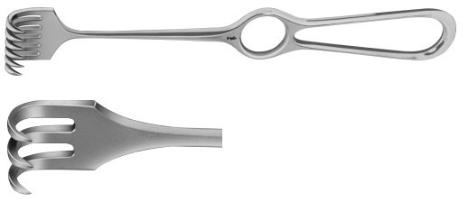 AE-BT243R, VOLKMANN RETRACTOR 3-PRONGS, SHARP, 9X13MM 220 mm, 8 3/4""