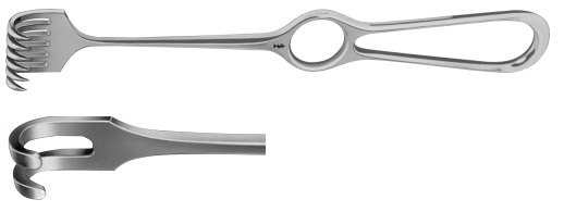 AE-BT252R, VOLKMANN RETRACTOR 2-PRONGS, BLUNT, 8X8MM 220 mm, 8 3/4""