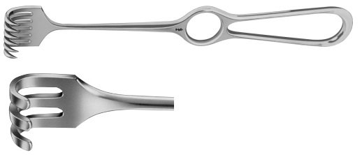 AE-BT253R, VOLKMANN RETRACTOR 3-PRONGS, BLUNT, 8X13MM 220 mm, 8 3/4""