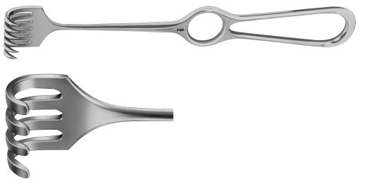 AE-BT254R, VOLKMANN RETRACTOR 4-PRONGS, BLUNT, 8X19MM 220 mm, 8 3/4""