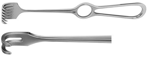 AE-BT257R, VOLKMANN RETRACTOR 2-PRONGS, SEMI SHARP, 8,5X8MM 220 mm, 8 3/4""