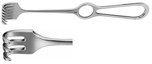AE-BT259R, VOLKMANN RETRACTOR 3-PRONGS, SEMI SHARP, 8,5X13MM 220 mm, 8 3/4""
