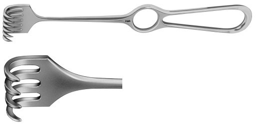 AE-BT260R, VOLKMANN RETRACTOR 4-PRONGS, SEMI SHARP, 8,5X19MM 220 mm, 8 3/4""