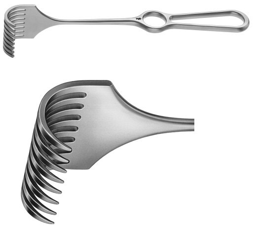 AE-BT279R, KÖRTE RETRACTOR 8 PRONGS, SHARP, 26 x 40 MM, HANDLE VERTICAL TO THE BLADE, 240 mm, 9 1/2""