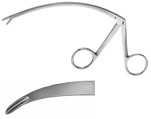 AE-FO599R, SYNOVECTOMY RONGEUR, JAW WIDTH 2 MM, SLIGHTLY CURVED 130 mm, 5 1/8""