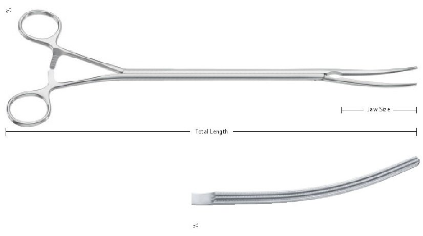 AE-FC297R, Aortic Clamps, Toothing 2:3 Debakey Toothing, Jaw Size 4.8 x 85 mm, Total Length 14 ½'' (360 mm)
