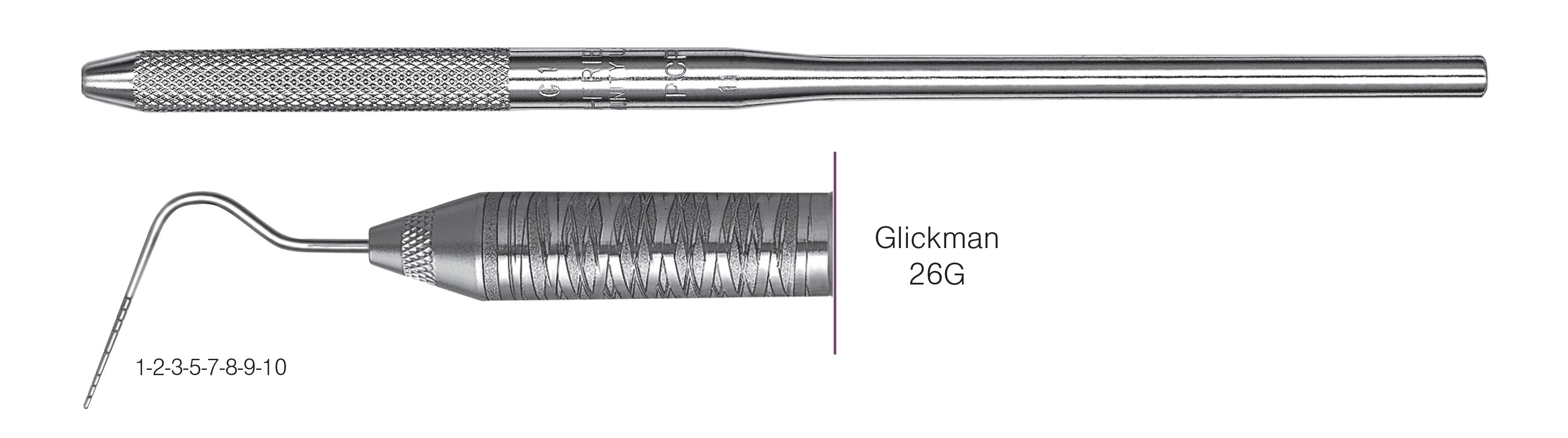 HF-P26G6-30, SINGLE-ENDED PROBES Glickman 26G, Black markings, 1-2-3-5-7-8-9-10 mm, Handle round, Single End