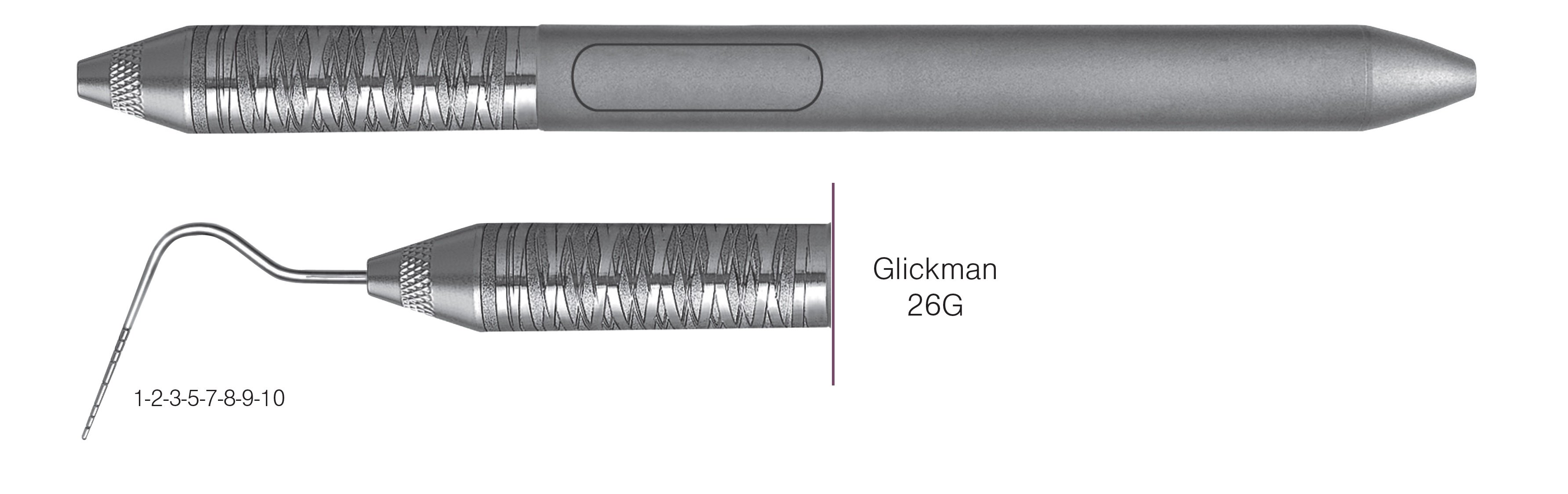 HF-P26G6-6, SINGLE-ENDED PROBES Glickman 26G, Black markings, 1-2-3-5-7-8-9-10 mm, Handle Satin Steel, Aluminum Titanium Nitride (AlTiN) Coating, Single End