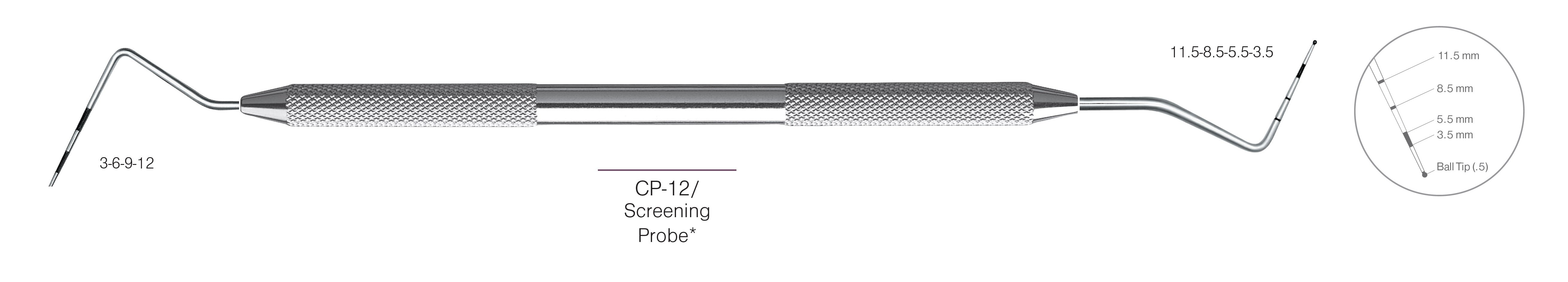 HF-PCP12-11.5-31, DOUBLE-ENDED SCREENING PROBES CP-12 Screening Probe*, Black markings, Tip 3-6-9-12 mm & 11.5-8.5-5.5-3.5 mm, With Ball tip (0.5), Handle Round, Double Ended