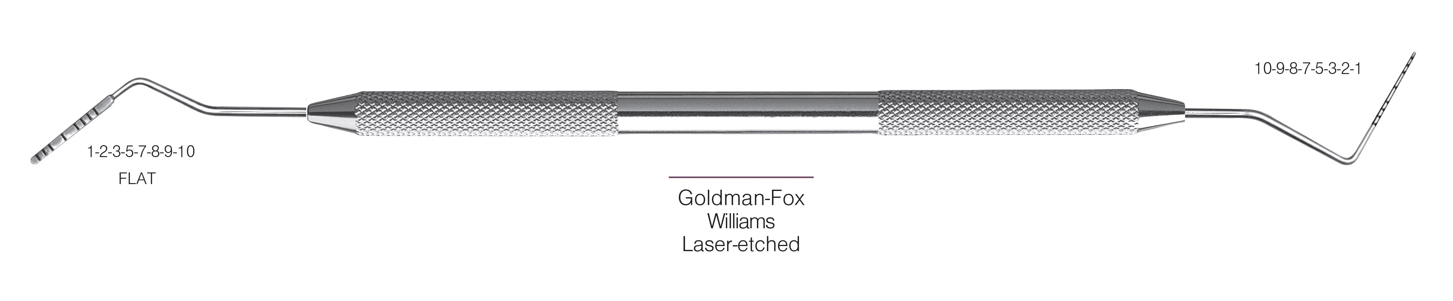 HF-PCPGF-W6-31, PROBES DOUBLE-ENDED Goldman-Fox/Williams, Laser-etched, Black markings, 1-2-3-5-7-8-9-10 mm FLAT & 10-9-8-7-5-3-2-1 mm, Handle round, Double Ended