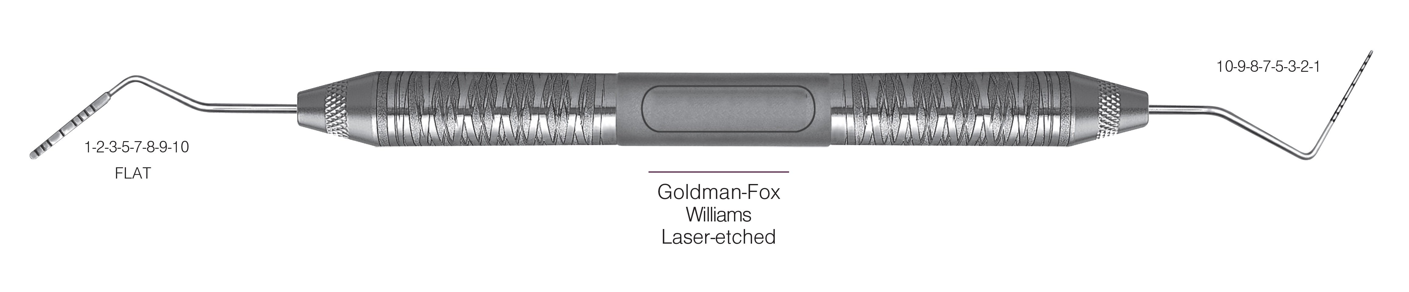 HF-PCPGF-W6-6, PROBES DOUBLE-ENDED Goldman-Fox/Williams, Laser-etched, Black markings, 1-2-3-5-7-8-9-10 mm FLAT & 10-9-8-7-5-3-2-1 mm, Handle Satin Steel, Aluminum Titanium Nitride (AlTiN) Coating, Double Ended