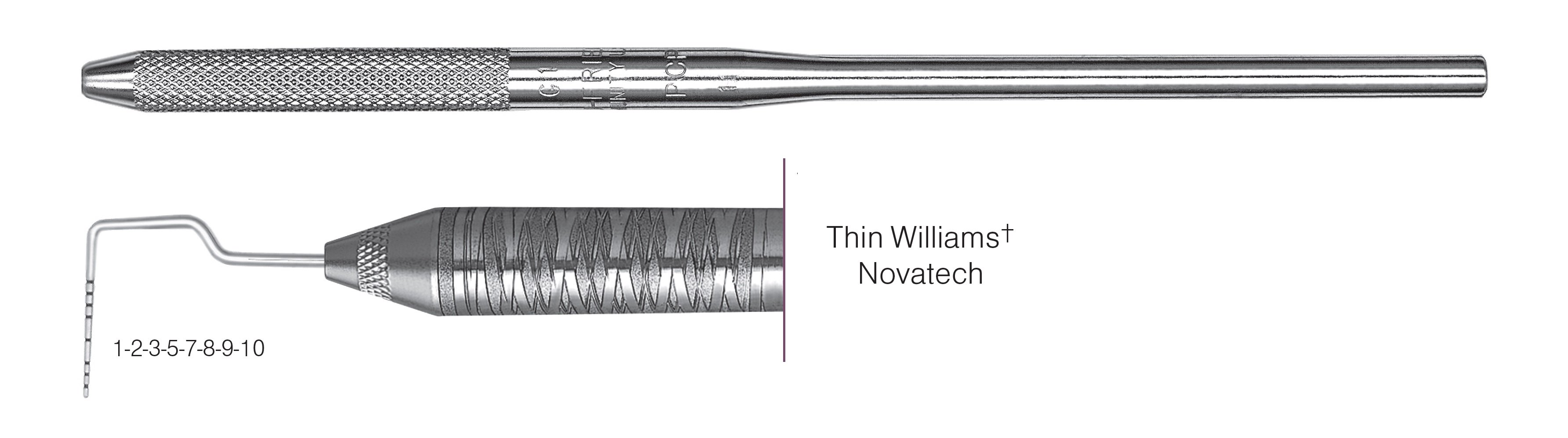 HF-PCPNTOW6-30, Thin Williams+ Novatech Probe, Black markings, 1-2-3-5-7-8-9-10 mm, Handle round, Single End