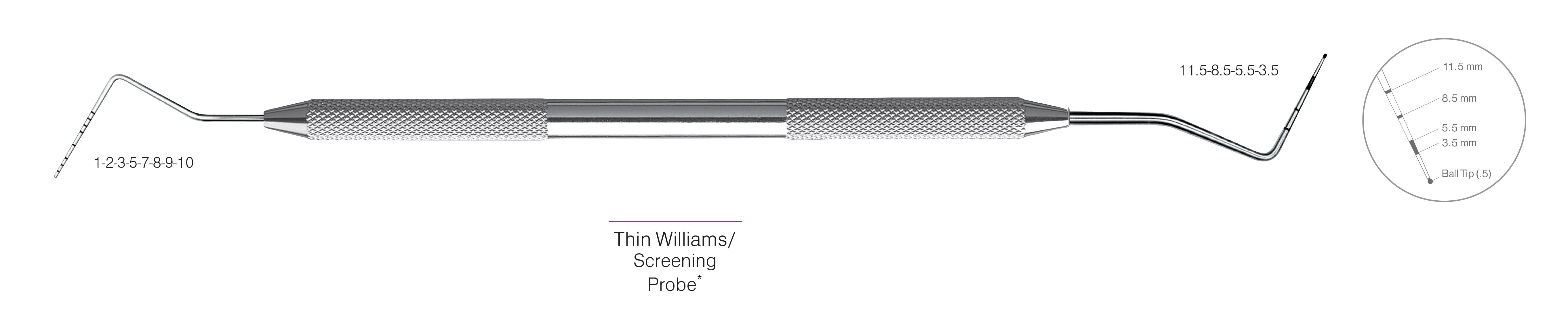 HF-PCPQOW11.5-31, DOUBLE-ENDED SCREENING PROBES Thin Williams/Screening Probe*, Black markings, Tip 1-2-3-5-7-8-9-10 mm & 11.5-8.5-5.5-3.5 mm, With Ball tip (0.5), Handle Round, Double Ended