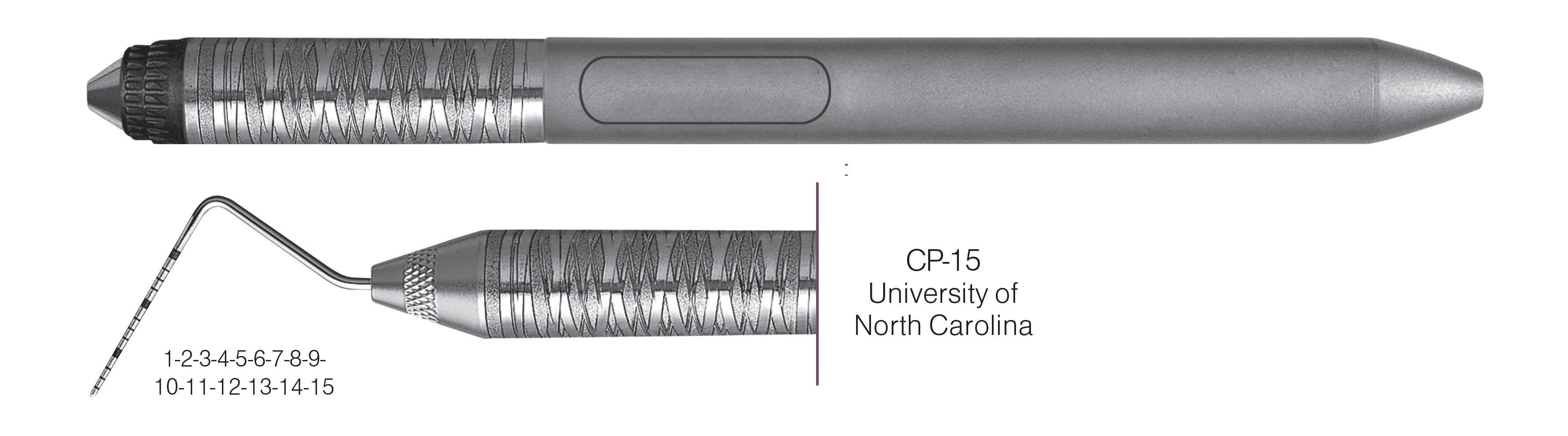 HF-PCPUNC156-7, COLOR-CODED PROBES CP-15 University of North Carolina, Black markings, 1-2-3-4-5-6-7-8-9-10-11-12-13-14-15 mm, Handle Satin Steel Colours, Aluminum Titanium Nitride (AlTiN) coating, Single End