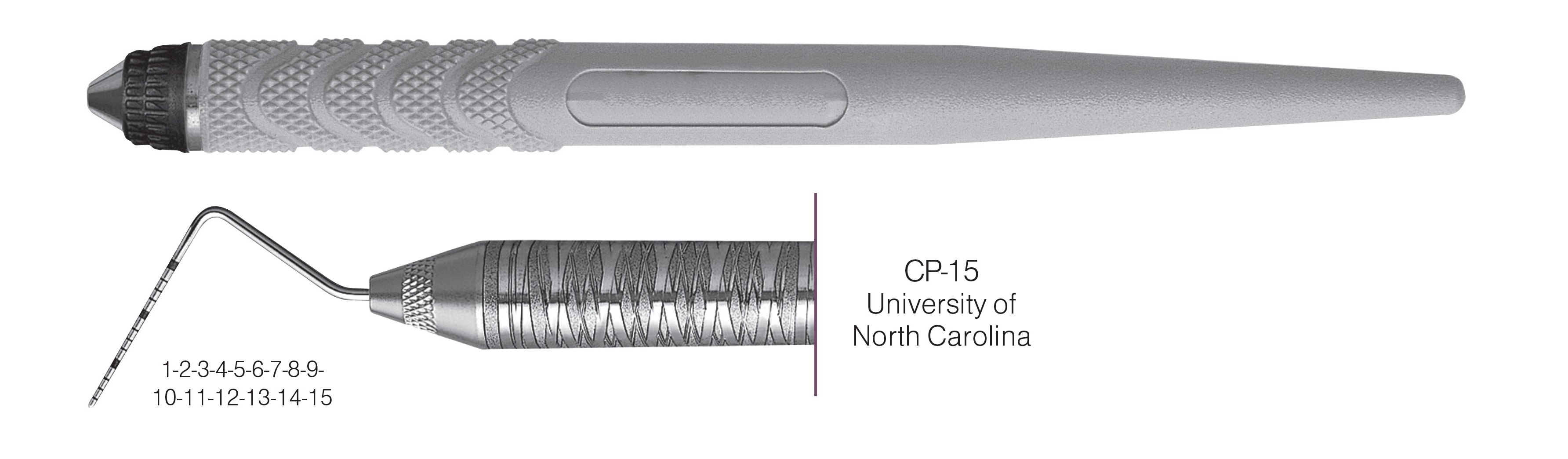 HF-PCPUNC156-8, COLOR-CODED PROBES CP-15 University of North Carolina, Black markings, 1-2-3-4-5-6-7-8-9-10-11-12-13-14-15 mm, Handle Resin Eight, Single End