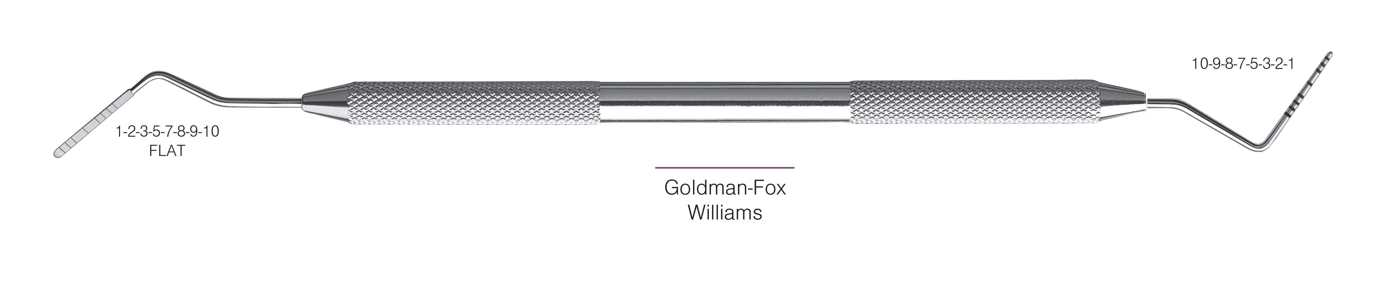 HF-PGF-W6-31, PROBES DOUBLE-ENDED Goldman-Fox/Williams, Black markings, 1-2-3-5-7-8-9-10 mm FLAT & 10-9-8-7-5-3-2-1 mm, Handle round, Double Ended