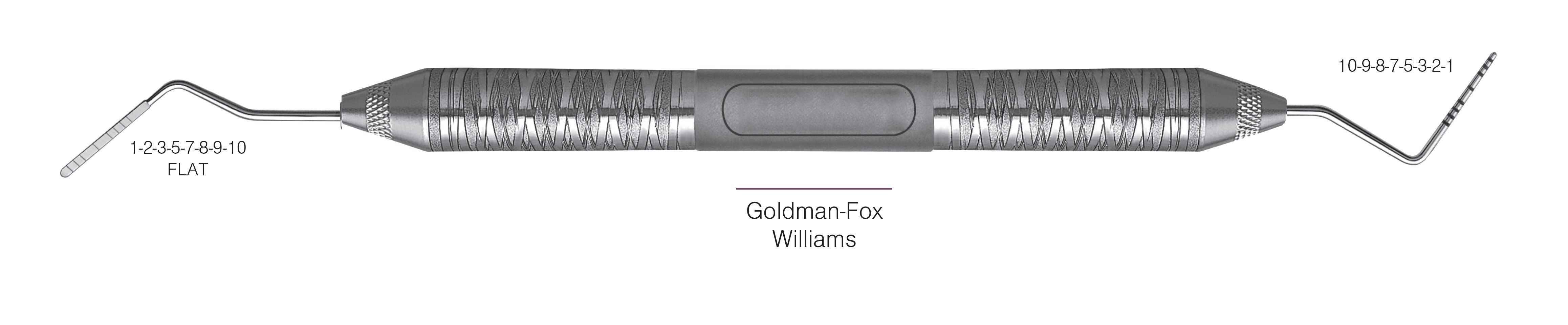 HF-PGF-W6-6, PROBES DOUBLE-ENDED Goldman-Fox/Williams, Black markings, 1-2-3-5-7-8-9-10 mm FLAT & 10-9-8-7-5-3-2-1 mm, Handle Satin Steel, Aluminum Titanium Nitride (AlTiN) Coating, Double Ended