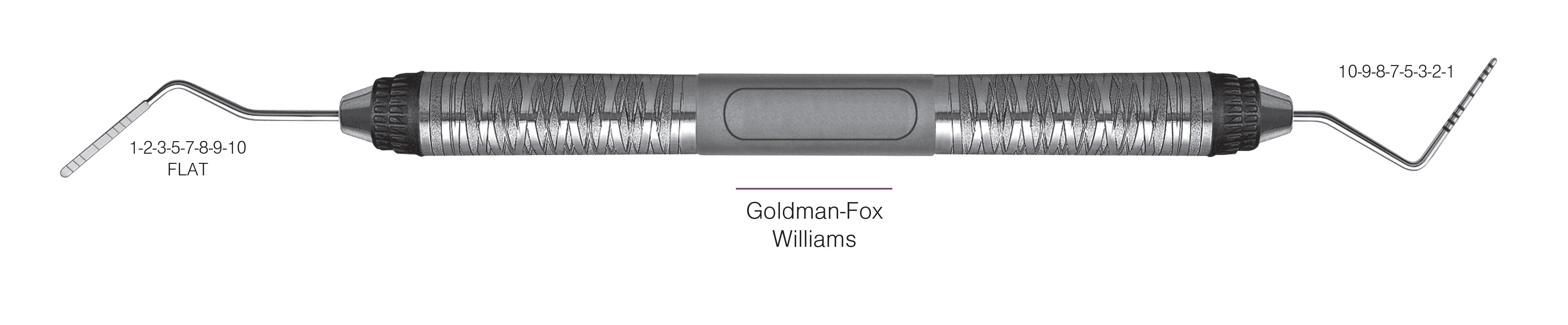 HF-PGF-W6-7, PROBES DOUBLE-ENDED Goldman-Fox/Williams, Black markings, 1-2-3-5-7-8-9-10 mm FLAT & 10-9-8-7-5-3-2-1 mm, Handle Satin Steel Colours, Aluminum Titanium Nitride (AlTiN) Coating, Double Ended