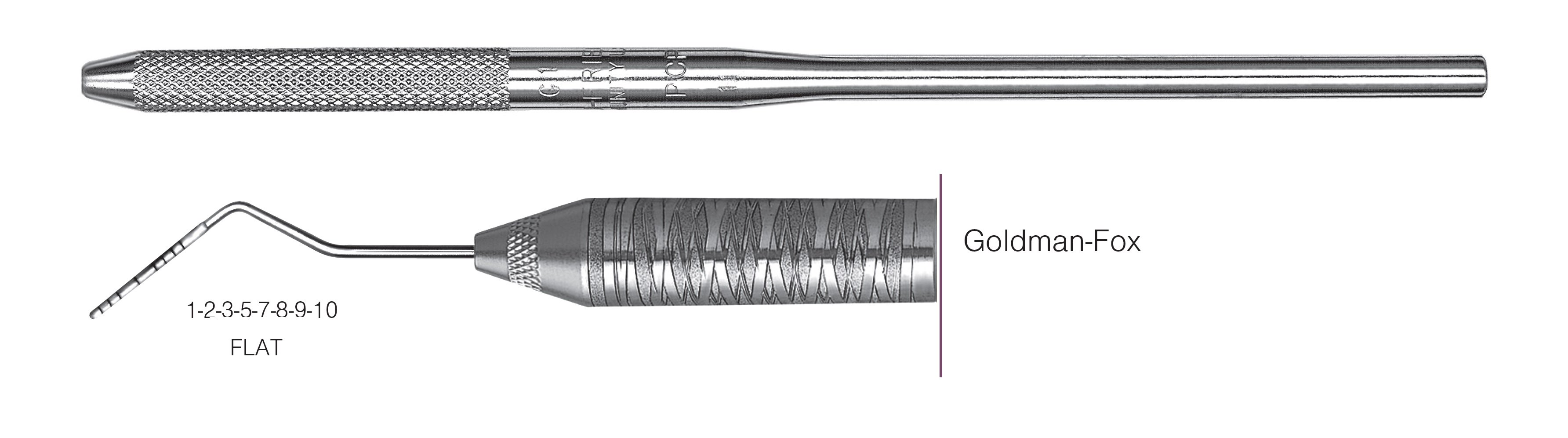 HF-PGF6-30, SINGLE-ENDED PROBES Goldman-Fox, Goldman-Fox probes feature a flat working end for easier insertion on lingual or facial surfaces, Black markings, 1-2-3-5-7-8-9-10 mm FLAT, Handle round, Single End