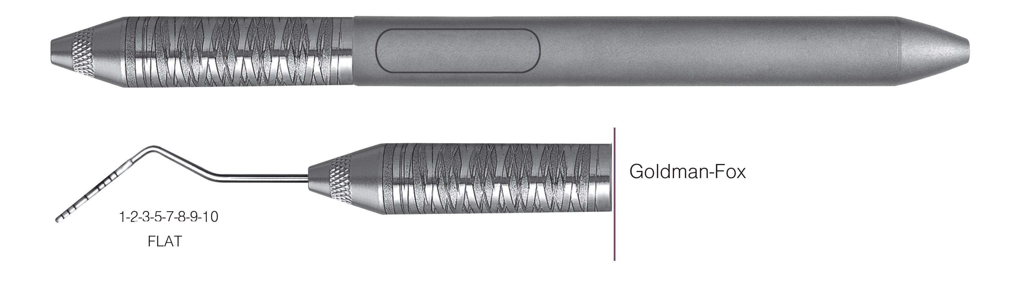 HF-PGF6-6, SINGLE-ENDED PROBES Goldman-Fox, Goldman-Fox probes feature a flat working end for easier insertion on lingual or facial surfaces, Black markings, 1-2-3-5-7-8-9-10 mm FLAT, Handle Satin Steel, Aluminum Titanium Nitride (AlTiN) Coating, Single End