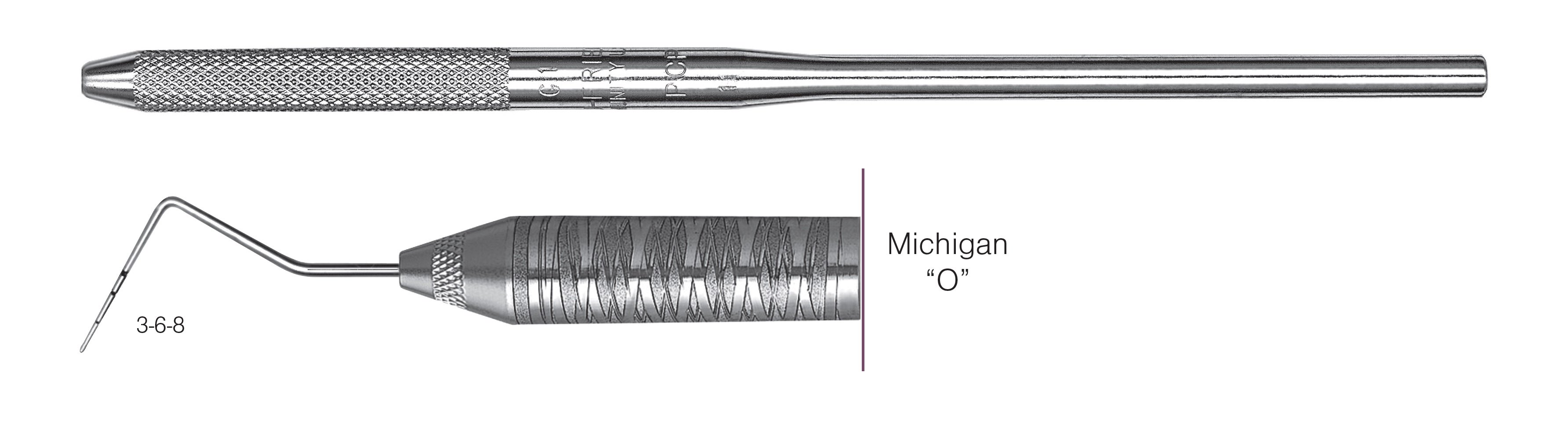 "HF-PO6-30, SINGLE-ENDED PROBES Michigan ""O"", Black markings, 3-6-8 mm, Handle round, Single End"