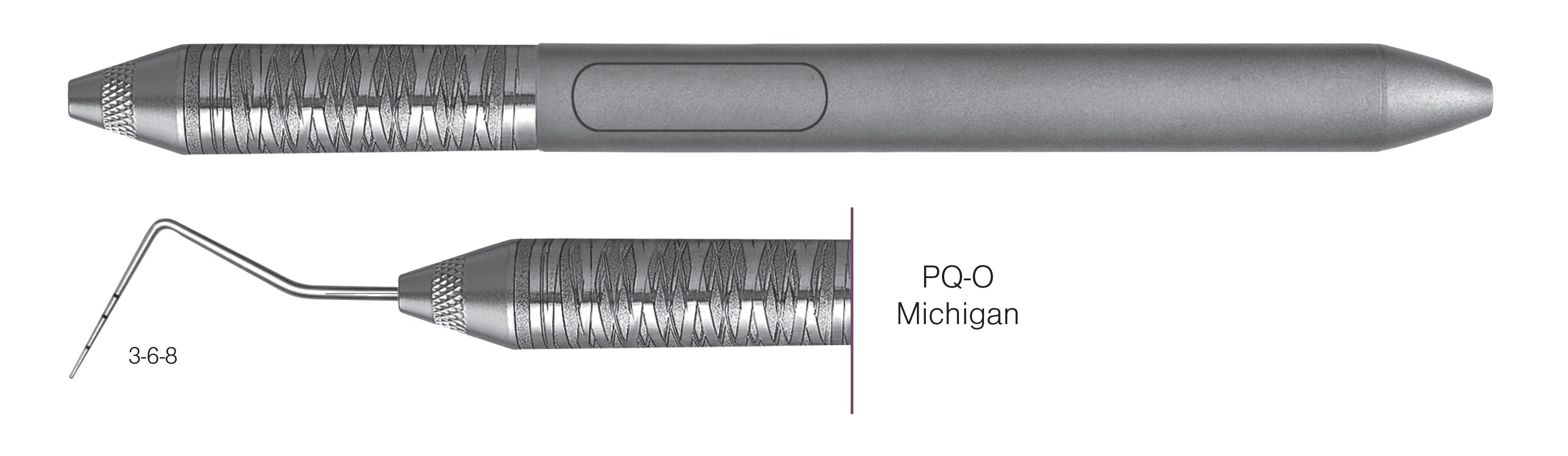 HF-PQO6-6, COLOR-CODED PROBES PQ-O Michigan, Black markings, 3-6-8 mm, Handle Satin Steel, Aluminum Titanium Nitride (AlTiN) coating, Single End