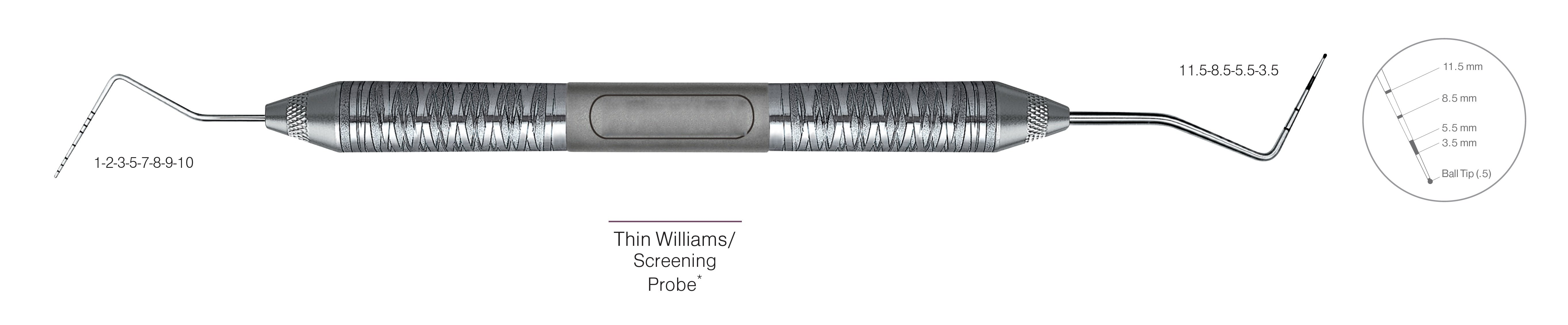 HF-PQOW11.5B6-6, DOUBLE-ENDED SCREENING PROBES Thin Williams/Screening Probe*, Black markings, Tip 1-2-3-5-7-8-9-10 mm & 11.5-8.5-5.5-3.5 mm, With Ball tip (0.5), Handle Satin Steel, Aluminum Titanium Nitride (AlTiN) Coating, Double Ended