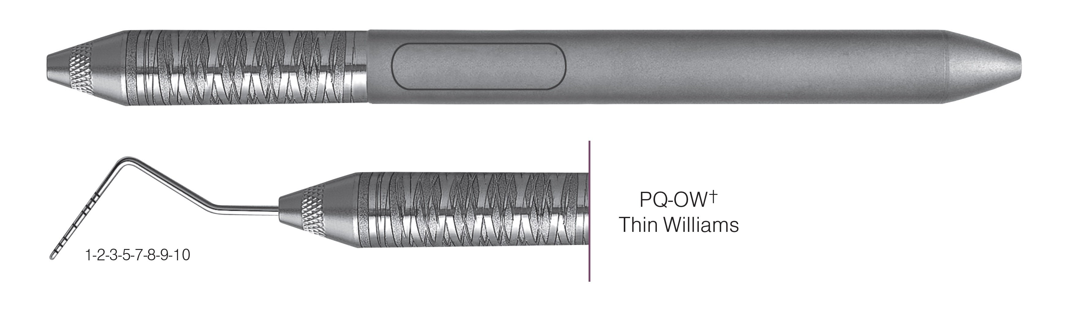 HF-PQOW6-6, COLOR-CODED PROBES PQ-OW+ Thin Williams, Black markings, 1-2-3-5-7-8-9-10 mm, Handle Satin Steel, Aluminum Titanium Nitride (AlTiN) coating, Single End